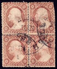 #26 - 3 Cents 1857, Block of 4, RARE alpha plate 'R', 6R-17R'R' Millersburgh CDS