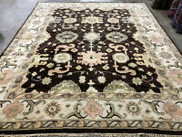 9x12 BROWN WOOL RUG HAND-KNOTTED oriental handmade carpet handwoven earth tone