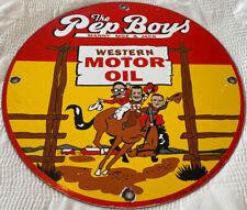 New ListingVintage The Pep Boys Western Motor Oil Porcelain Sign Gas Station Pump Plate