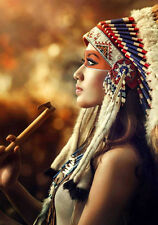 Native American Indian Girl with Headdress Art Quality Canvas Print