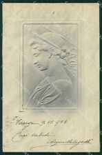 Art Nouveau Lady Relief OPF postcard cartolina QT5842