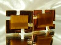 Outstanding Vintage 1970's Tiger Eye Gold Tone Cuff Links 134JL9