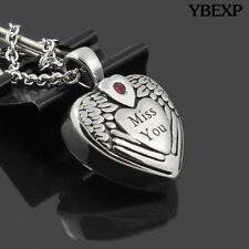 "Cylinder ""miss you"" Cremation Jewelry Keepsake Memorial Urn Necklace Ash Holder"