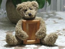 Brown Sitting Teddy Bear Plush Holding Wooden Picture Frame 7 inch Tall