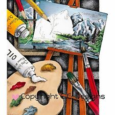 Painter Palette, Cling Unmounted Rubber Stamp C.C. DESIGNS - New, JD1067