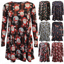 Womens Xmas Ladies Santa Reindeer Snowman Stocking Christmas Printed Swing Dress