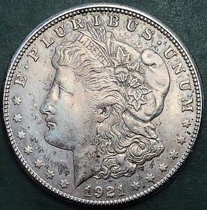 Good grade 1921 United States 'Morgan' silver dollar coin. San Francisco mint.