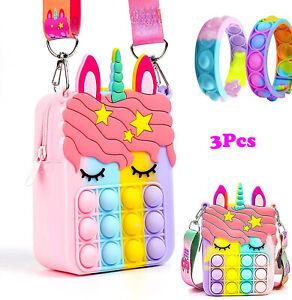 3Pack Pop-it Uni-corn Messenger Bag w Bracelets Fidget Sensory Toy Stress Relief