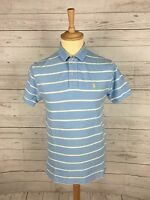 Mens Ralph Lauren Polo Shirt - Small - Blue with White Stripe - Great Condition
