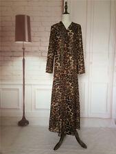 Dubia Style Leopard Print Open Front Abaya Jilbab Muslim Islamic Maxi Dress