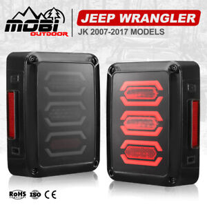 MOBI LED Tail Lights Smoked Lens OEM Fit Jeep Wrangler JK 2007-2017 Black