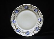 Vintage Hertel Jacob Rehau Bavaria Germany 7-3/4 Salad Plate Blue Rose Gold Stem