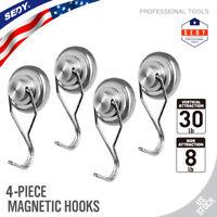 4PC Swivel Strong Magnetic Hooks 30LB Super Powerful Neodymium Magnet Heavy Duty