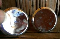 2 Chrome Concave Vintage KNOB Drawer Pull Handle Salvaged Pre Owned As Is