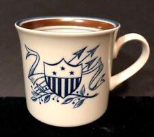 Vtg Salem Stoneware Coffee Mug Blue Shield Arrows Crest Brown Inner Rim Euc