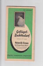 Geflügel - Zuchtbedarf Heinrich Groos Bad Mergentheim 1954 Katalog Fotos Preise