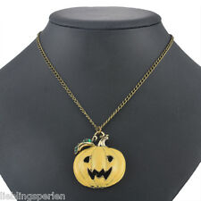 1 Halsschmuck Halskette Anhänger Kette Modeschmuck Kürbis Bronze Gelb 70cm L/P