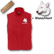 Fleece Weste Fleeceweste bestickt Stickerei Bull Terrier weiß + Name