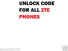 ALL NETWORKS FACTORY UNLOCK CODE SERVICE FOR   ZTE PHONE ZTE