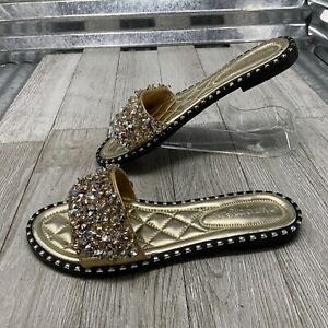 Wild Diva Lounge Gold Silver Rhinestones Dress Slides Flat Formal Shoe Size 7.5