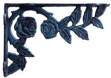 "Rose Bush Wall Shelf Bracket Verdigris Cast Iron Brace DIY Custom Shelves 8.75"""
