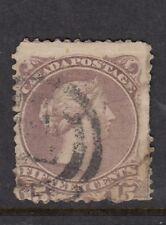 Dominion of Canada 1868-90 - 15c deep reddish purple-used - Repaired!-Cat £180