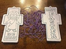 New, Ready to Color Easter Bookmarks or Ornaments, Lot of 18 with String Hangers