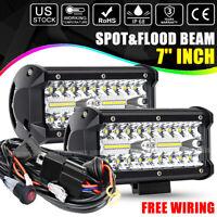"2X 7""INCH LED Light Bar Spot Flood Pods Lights Off-Road Truck 4WD SUV 12V+ Wire"