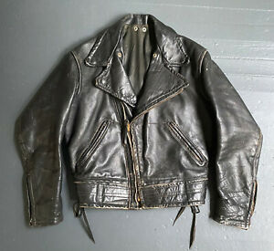 Vintage Cal Leather CHP Police Brown Horsehide Motorcycle Jacket, size Large