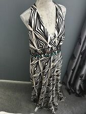 Debut Lovely Print Silky Maxi Evening Dress with Jewelled Neckline Size 16