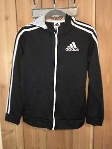 Adidas Black & White Sweatshirt jacket w Hoodie Youth Size 14/16 New