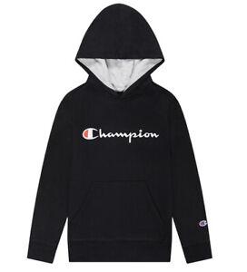 Champion Boy's Large Signature Fleece Hoodie NWT Black Script Sweatshirt $32 NEW