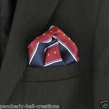 Stars & Stripes Navy Blue & Red Mens Suit Pocket Square Handkerchief Hanky New