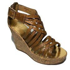 Tory Burch Wedge Sandal Annamarte Brown Leather Gladiator Platform Size 6.5