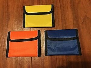 Nylon Wallet Clear ID Window Vel Closure Pick Yellow, Blue, or Orange NEW