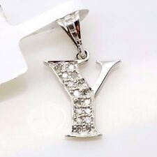 New 10k White Gold Letter 'Y' Initial Alphabet .08ct Diamond Small Charm Pendant
