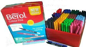 12 x Berol Felt Tip Colouring Pens Fine or Broad Tip Washable Ink School craft