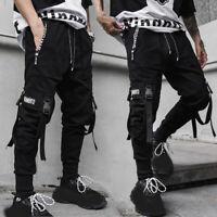 Men's Multi Pocket Harem Pants Jogger Trousers Cargo Combat Street Hip-hop Loose