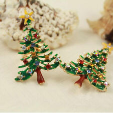New Women Brooch Enamel Rhinestone Crystal Christmas Tree Pin Holiday Party Gift