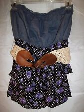 Bongo Junior's Tube Top Sleeveless Shirt Multi Color Floral Dots Size Large