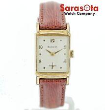Vintage Bulova 10K RGP L4 Hand Winding Rectangle Leather Dress Unisex Watch