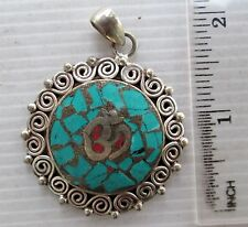 ORNATE Old Tibet Tibetan Silver & Turquoise Buddhist Amulet Eternal Om