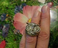 Vintage Brass or bronze Owl Head Ring Beautiful sz 6, 5 -6.75