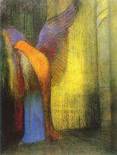 Winged Old Man with Long White Beard by Odilon Redon   Giclee Canvas Print Repro