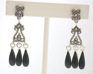 Marcasite Sterling Silver Black Onyx Small Chandelier Tear Drop Dangle Earrings