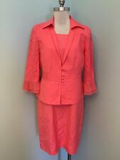 Coldwater Creek Dress Suit 3 Piece Peach Career Cocktail Blazer Jacket Linen EUC