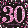 16X Rosa Celebración 30 Años Servilletas y Negro 30th Cumpleaños