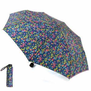 Drizzles Ladies Supermini Wind Resistance Multi Print Umbrella Blue Ditsy Floral