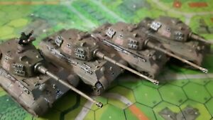 German Tiger2 tanks x 4 for Flames of War, 1/100, 15mm scale