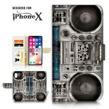 ( For iPhone X ) Wallet Case Cover P21056 Boom Box
